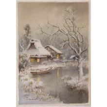 Terauchi Fukutaro: Huts beside stream in winter - Japanese Art Open Database
