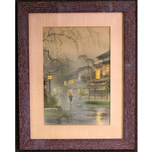 Terauchi Fukutaro: Misty rain village scene - Japanese Art Open Database