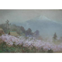 Terauchi Fukutaro: Mt Fuji from Village in Spring - Japanese Art Open Database