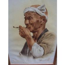 Terauchi Fukutaro: Old Man Smoking a Pipe - Japanese Art Open Database