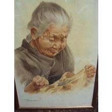 Terauchi Fukutaro: Old Woman Sewing - Japanese Art Open Database