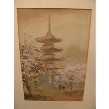 Terauchi Fukutaro: Pagoda and lanter in spring - Japanese Art Open Database