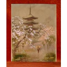 Terauchi Fukutaro: Pagoda in Spring Rain - Japanese Art Open Database