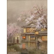Terauchi Fukutaro: Spring rain in village - Japanese Art Open Database