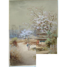 Terauchi Fukutaro: Spring scene with store by river - Japanese Art Open Database