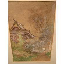 Terauchi Fukutaro: Temple entrance with lanterns in rain - Japanese Art Open Database