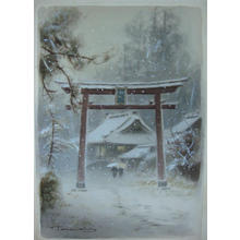 Terauchi Fukutaro: Torii Entrance to Snowy Village - Japanese Art Open Database