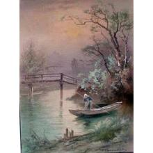 Terauchi Fukutaro: Twilight river boat bridge scene - Japanese Art Open Database