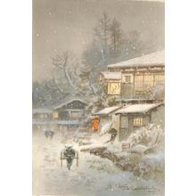 Terauchi Fukutaro: Village snow scene - Japanese Art Open Database