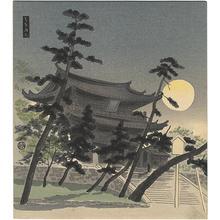 Tokuriki Tomikichiro: Chion-in Temple in Full Moon — 知恩院明月 - Japanese Art Open Database
