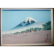 Tokuriki Tomikichiro: Fuji seen from Senbon-matsubara (pingrove) — Senbon-matsubara no Fuji - Japanese Art Open Database
