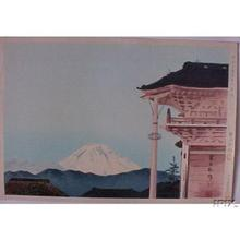 Tokuriki Tomikichiro: Fuji viewed from the Moto-zenkoji Temple in Kofu — 甲府元善光寺の冨士 - Japanese Art Open Database