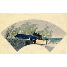 Tokuriki Tomikichiro: The Temple Gate- fan print - Japanese Art Open Database