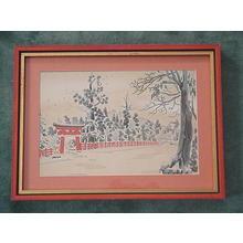 徳力富吉郎: Red Torii in Snow - Japanese Art Open Database