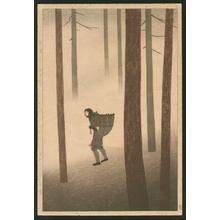 Tomoichi Fujisawa: Walking in Fallen Leaves — Ochiba Michinoku - Japanese Art Open Database