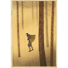 Tomoichi Fujisawa: Walking in Fallen Leaves — Ochiba Michinoku - Japanese Art Open Database