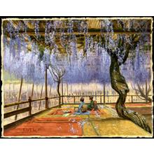 石川寅治: Picnic under Wisteria Blossoms - Japanese Art Open Database