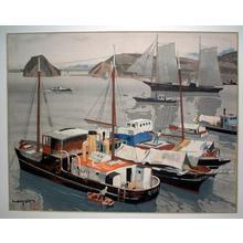 石川寅治: Ugo Harbour (Ugo No Minato) — 雨後の港 - Japanese Art Open Database