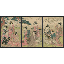 二代目鳥居清満: Bijin tying paper wish slips to the cranes - Japanese Art Open Database