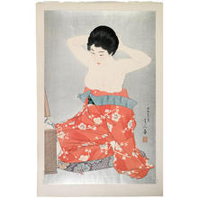 鳥居言人: Make-up (At the Mirror) — 化粧 - Japanese Art Open Database
