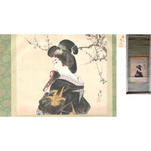 鳥居言人: Woman in a crane patterned kimono in front of a flowering plum tree - Japanese Art Open Database