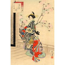 Mizuno Toshikata: High-class courtesan and her maid - Japanese Art Open Database