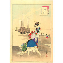 Mizuno Toshikata: Shell Gathering - Women of the Bunka Era — 汐干 - Japanese Art Open Database