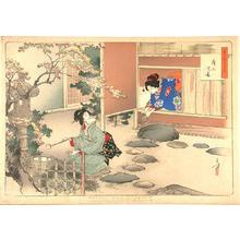 Mizuno Toshikata: Entering a tea room - Japanese Art Open Database