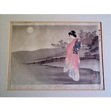 Mizuno Toshikata: A melody on a moonlit night - Japanese Art Open Database