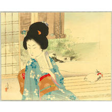 水野年方: Beauty and Cat on Balcony - Japanese Art Open Database