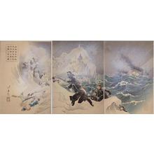 Mizuno Toshikata: Seven Heroic Soldiers Landing near Waihaiwei in the Shino-Japanese War — 於威海衛附近我海軍陸戦隊決死隊七勇士先鋒上陸之図 - Japanese Art Open Database