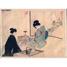 Mizuno Toshikata: Two bijin having tea - Japanese Art Open Database