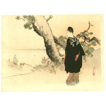 Mizuno Toshikata: Wife and Husband viewing the sea - Japanese Art Open Database