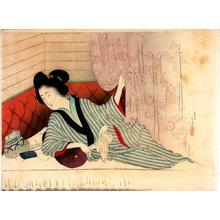 Mizuno Toshikata: Woman resting on a futon - Japanese Art Open Database