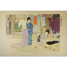 Mizuno Toshikata: 3- Airing Clothes - Japanese Art Open Database