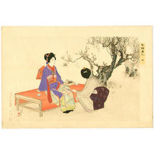 水野年方: 2- Two ladies drinking their tea under a blooming plum tree - Japanese Art Open Database