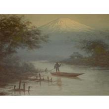 Tosuke S: Boatman on stream near Mt Fuji - Japanese Art Open Database