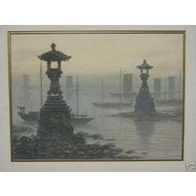 Tosuke S: Harbour scenes with lanterns - Japanese Art Open Database