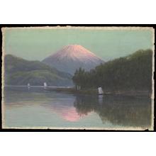 Tosuke S: Mt Fuji from Lake with sailboats - Japanese Art Open Database