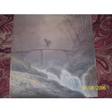Tosuke S: Pilgrim crossing river - Japanese Art Open Database