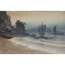 Tosuke S: Sailboats near beach - Japanese Art Open Database