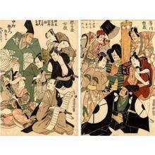 Utagawa Toyokuni I: Diptych- A celebration of the New Year Theatrical season at the Miyakoza - Japanese Art Open Database