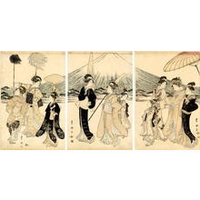 歌川豊国: Festive procession of a noble family and entourage at Mt Fuji - Japanese Art Open Database