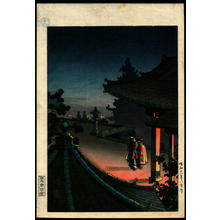 風光礼讃: Evening at Mii Temple - Japanese Art Open Database