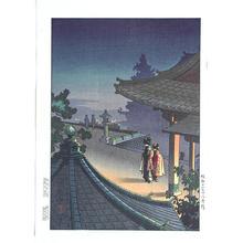 風光礼讃: Evening at Mii Temple - Japanese Art Open Database