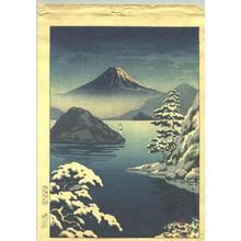 Tsuchiya Koitsu: Fuji from Mitsuhama (Mito) in Snow - Japanese Art Open Database