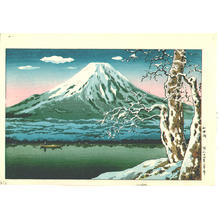 風光礼讃: Lake Yamanaka in Winter - Japanese Art Open Database
