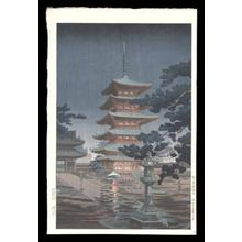 風光礼讃: Rain at Horyuji Temple, Nara - Japanese Art Open Database