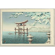 風光礼讃: Snow at Miyajima - Japanese Art Open Database