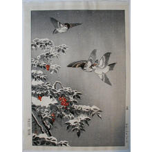 風光礼讃: Sparrows - oban — 雀 - Japanese Art Open Database